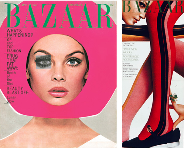 Left: Model Jean Shrimpton on the famous cover of Harper's Bazaar April 1965, with the winking eye. Art direction: Ruth Ansel and Bea Feitler. Photo: Richard Avedon. © 2010 The Richard Avedon Foundation. Right: Harper's Bazaar fold-down cover, August 1966. Art direction: Ruth Ansel and Bea Feitler. Photo: James Moore.